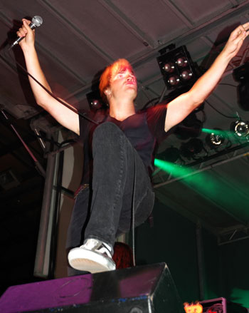 The Second Epic's lead vocalist, Andrew, excites the screaming crowd. (Cori Alfreds photo)