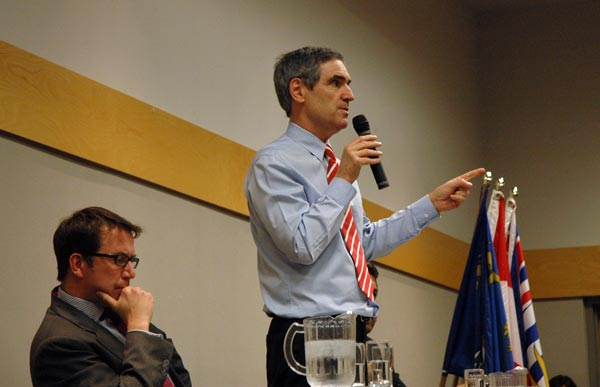 Scott Brisson (left) and Michael Ignatieff, during the Liberal leader's speech to students Jan. 15. (Nick Majors photo)