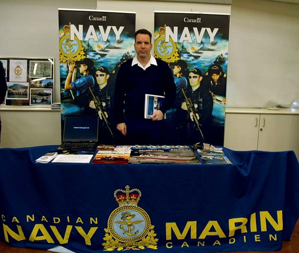 Mike Babcock from the Canadian Navy, recruits Kwantlen students in the Conference Center at the Richmond campus