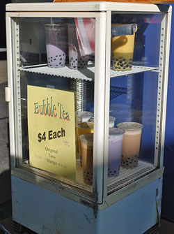 The bubble tea cooler holds drinks ready for students. (Sandy Buemann photo)