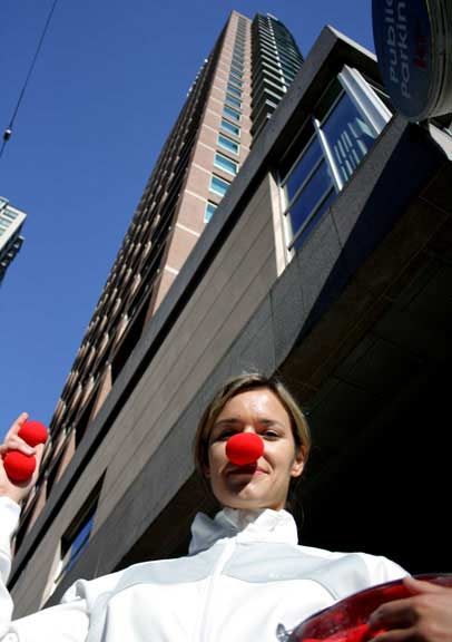 Kwantlen PR program alumni Karin Lornsen hams it up at the Westin Grand Hotel on Robson Street in Vancouver, the headquarters for ComedyFest Vancouver during the festival. (Justin Langille photo)