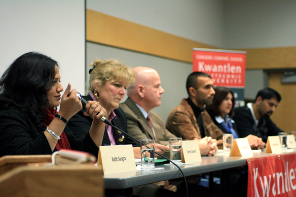 The panel, from Left to right: director Baljit Sangra, crown counsel Wendy Dawson, RCMP superintendent Dan Malo, Jagdeep Singh Mangat, Sociologist Indira Prahst and Sukh Rai vice principal of Frankhurt Secondary School.