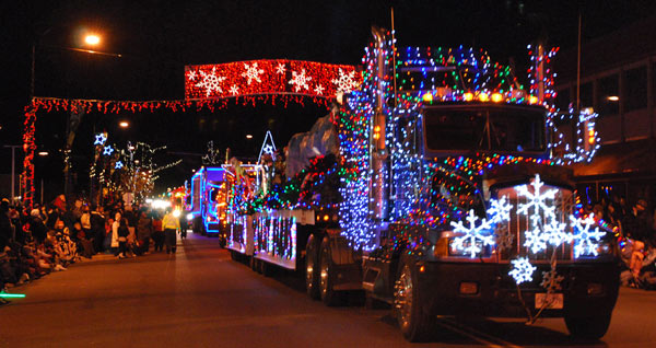 A decorated semi tractor-trailer entertains a crowd of thousands during Cloverdale's annual Santa's Parade of Lights. (Photo submitted by Cloverdale Business Improvement Association)
