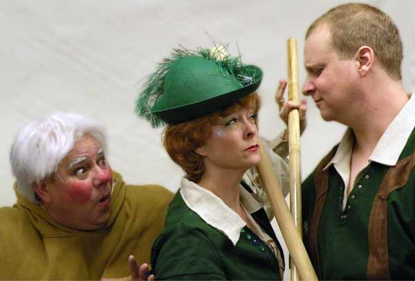 Mandy Tulloch, as Robin Hood, challenges Little John, played by James Knowlden, to a battle. (Photo courtesy of the production)