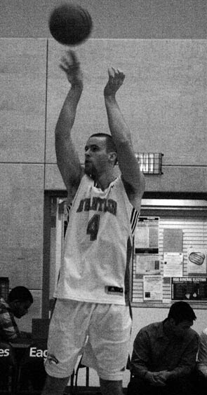 Kevin Kokoska of the Eagles shoots a jumper against Vancouver Island University. (Katie Lawrence photo)
