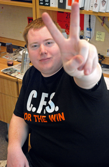 Derek Robertson holds up the victory sign after the BC Supreme Court ruled in favour of the KSA, ordering him to be accepted as Kwantlen's representative on the CFS-BC's board of directors immediately. (Sarah Jackson photo)