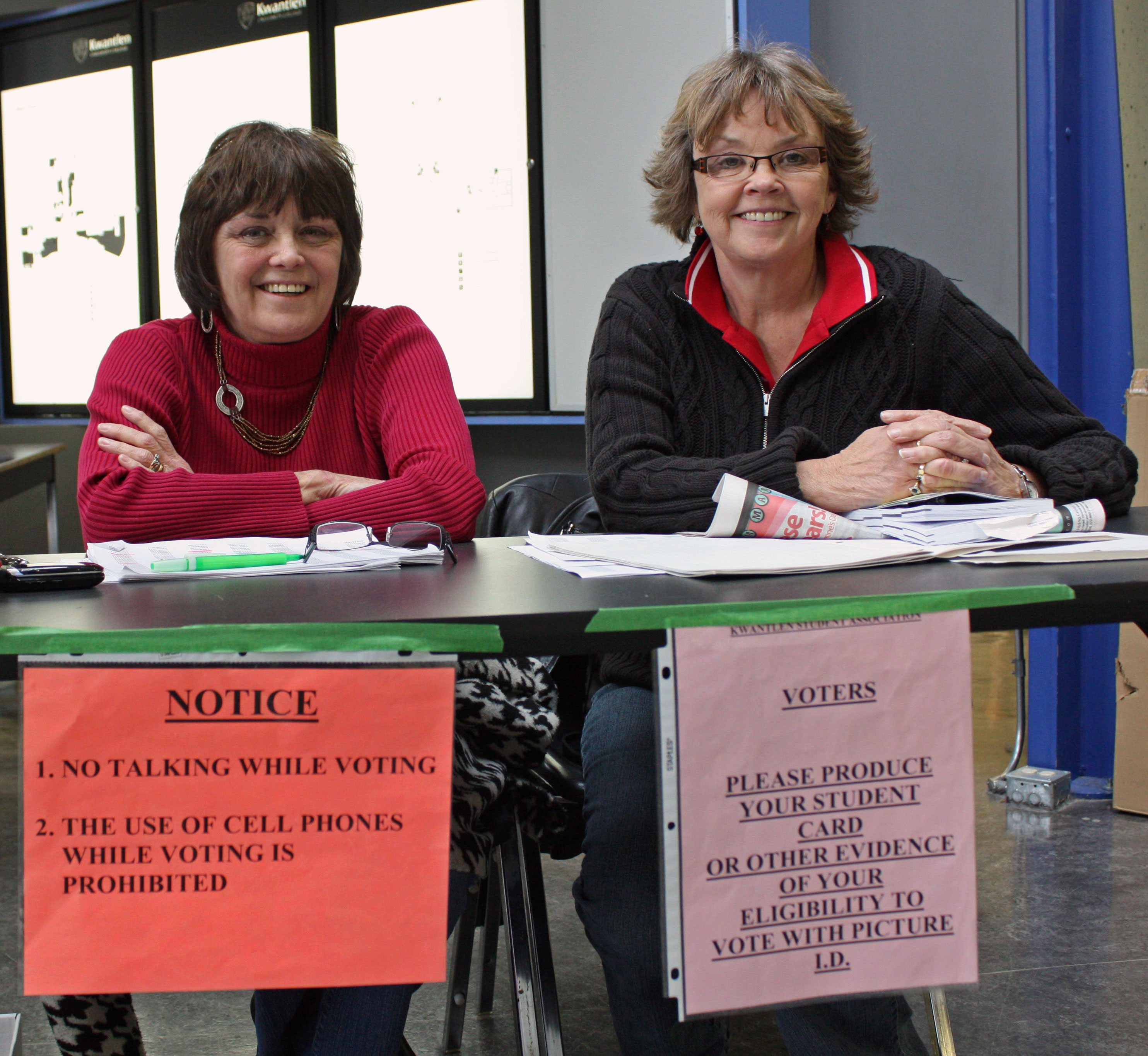 Fran Schiffner and Alice Rush are on hand to make sure every vote is cast fairly. (Kyle Vinoly photo)
