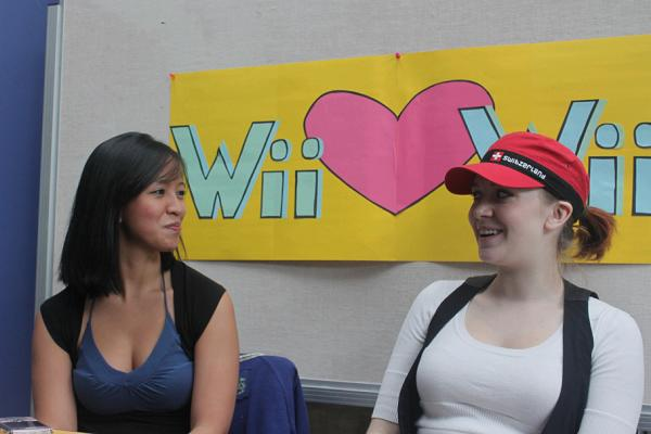 Ivy Mendoza and Heather Poirier ran the sign-up booth for the Wii tournament, which the KSA hopes will get Richmond students involved in recreation. (Jacob Zinn photo)