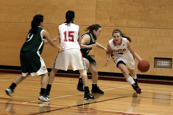Jessica Williams drives past Jade Arignon towards the basket for two points.
