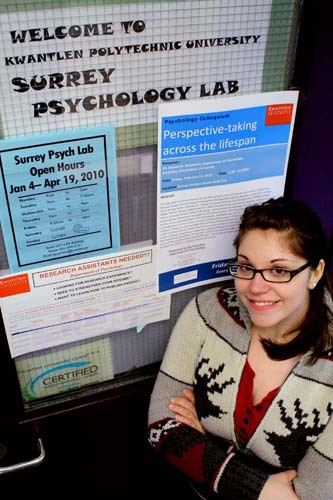 Hayley Leveque, a fourth-year psychology student, stands at the entrance to the room where she interviews her subjects. Leveque said her field of study, sexual psychology, is uncommon due to its taboo nature. (Mitch Thompson photo
