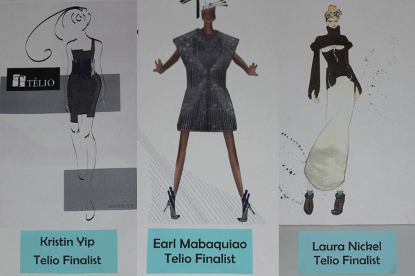 The three garments designed by the winning trio for the TELIO competition.